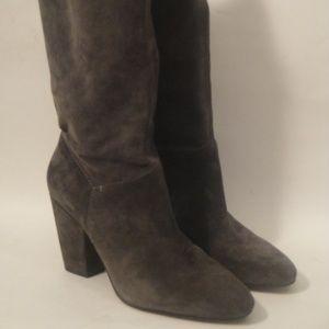 1.State Block Heel Short Boots Gray Suede 37/6.5